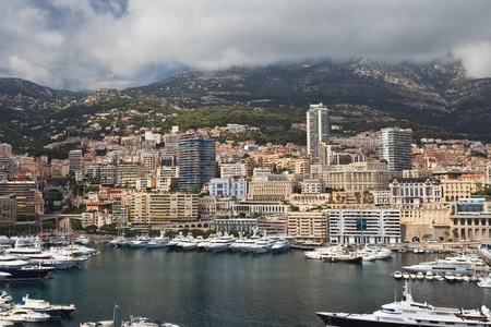 view of Monaco bay with luxury boats. French Riviera  photo