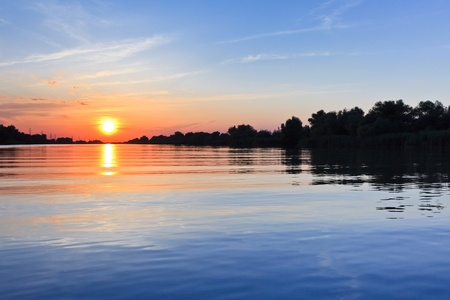 una bellissima alba nel Delta del Danubio, Romania