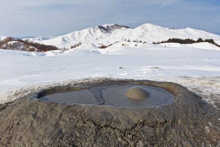 mud and snow: Mud Volcanoes in winter. Location: Buzau Romania