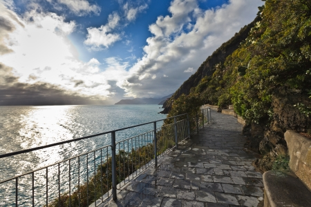 Cinque Terre - road of love. Liguria, Italy.One from most beautiful in Italy of for pedestrians paths for lovers
