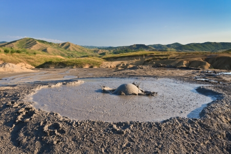Strange landscape produced bu active mud volcanoes