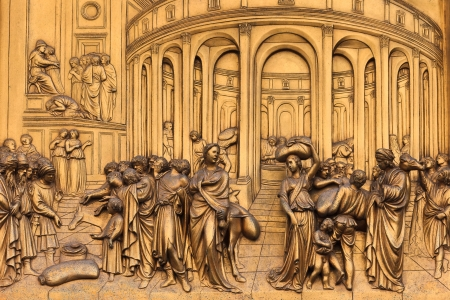 Detail from the golden doors of the Duomo in Florence Stock Photo