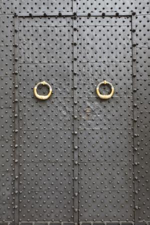 medieval metal door in the Genoa, Italy