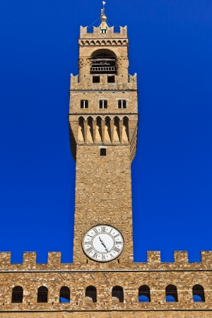 Close up of high part of Palazzo Vecchio, the great Palace at center of Florence, Italy  photo