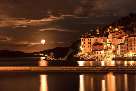 Marciana Marina in night. Isle of Elba, Livorno, Italy.