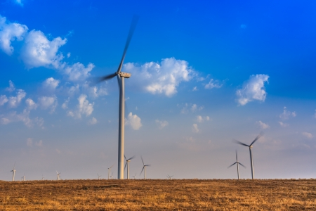 wind power turbines on a hill in morning Stock Photo - 15803643