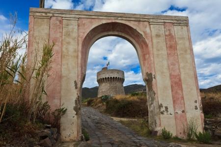capraia: Tower on Capraia island, Elba, Tuscany, Italy