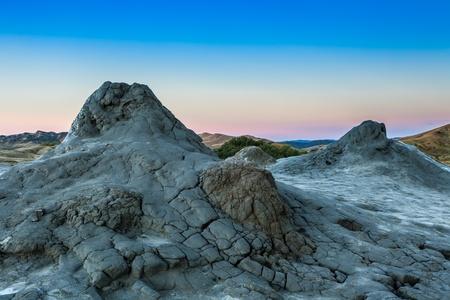 bu: strange landscape produced bu active mud volcanoes in Buzau, Romania