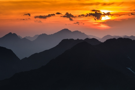 Sunset over the Fagaras Mountains, Romania. View from Moldoveanu Peak  2544m.  photo