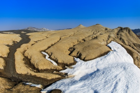 natural phenomena: Mud Volcanoes in winter. Location: Buzau Romania