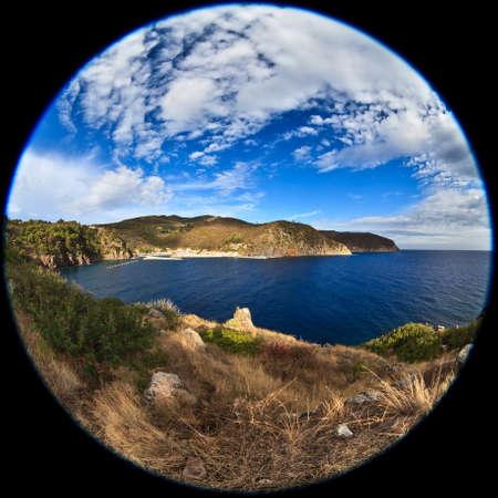 capraia: fisheye lens image of Capraia Island, Tuscan Archipelago, Italy