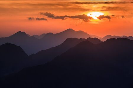 Sunset over the Fagaras Mountains, Romania. View from Moldoveanu Peak  2544m. Stock Photo - 17112558