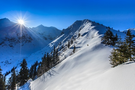 View from Negoiu peak in winter. Fagaras Mountains, Southern Carpathians, Romania  Stock Photo