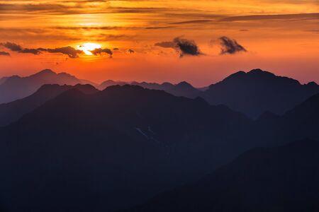 Sunset over the Fagaras Mountains, Romania. View from Moldoveanu Peak  2544m. Stock Photo - 17568701