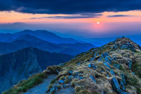 Sunset over the Fagaras Mountains, Romania. View from Negoiu Peak  2535m. photo