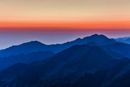 before sunrise in Fagaras Mountains, Southern Carpathians, Romania  Stock Photo