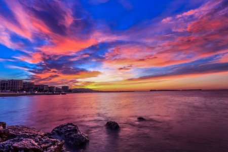 dramatic sunrise sky. Pictured captured in Cannes, France photo