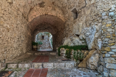 city of Eze Village in the South of France along the Mediterranean Sea Stock Photo