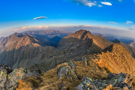 View from the Negoiu Peak which is the second highest mountain top (2535 m) of Fagaras Mountains.
