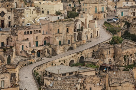 sassi: A view at houses in the Sassi the historic center of the city Matera in Basilicata in Italy