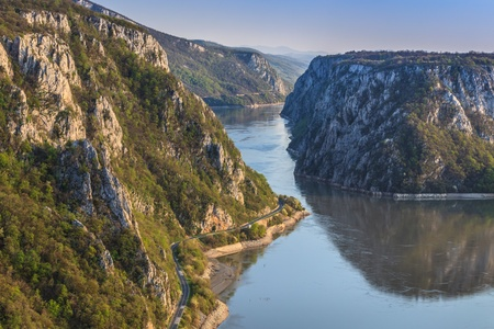 landscape in the Danube Gorges Cazanele Mari seen from the Romanian side