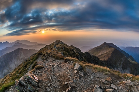 fagaras: View from the Negoiu peak which is the second highest mountain top (2535 m) of Fagaras Mountains Stock Photo