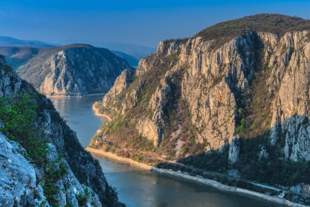 Landscape in the Danube Gorges Cazanele Mari seen from the Romanian side.  Stock Photo