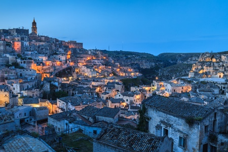 sassi: The ancient city of Matera. Basilicata, Italy. Town in the rock   Stock Photo