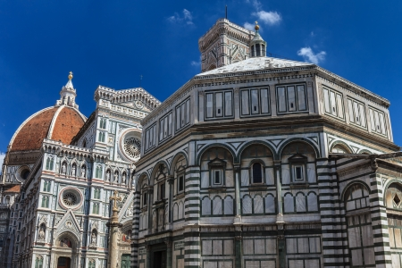 The Basilica di Santa Maria del Fiore and Giottos Campanile - famous landmarks of Florence in Italy