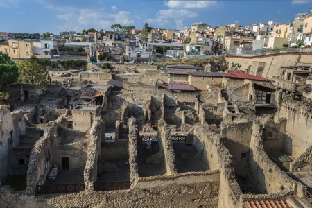General View of Excavations of Roman town buried by Versuvious in AD79. Herculaneum, Italy photo