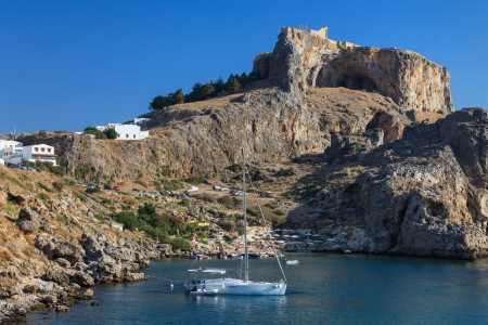 inlet bay: St Pauls Bay Beach in Lindos, Rhodes, Greece, Europe