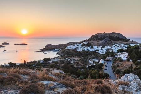 alba nell'isola Lindos Rodi, in Grecia Archivio Fotografico