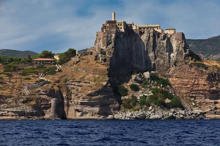 capraia: Capraia island castle and fortification in Elba, Italy Editorial