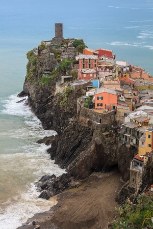 Vernazza fishermen village in Cinque Terre.   photo