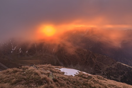 Sunrise in Fagaras Mountains  Southern Carpathians, Romania photo
