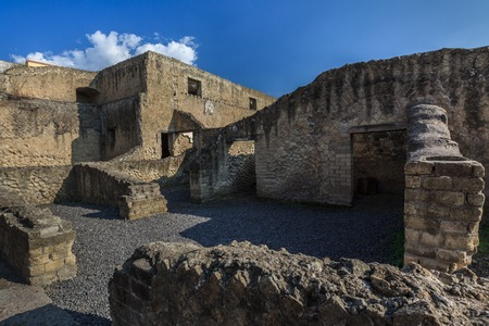 Excavation of Roman town buried by Versuvious in AD79. Herculaneum, Italy photo
