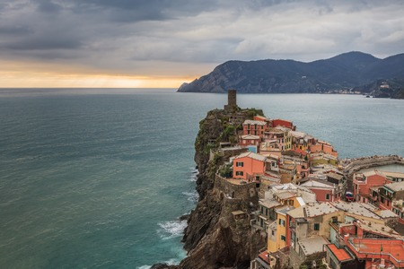 vernazza: Vernazza fishermen village in Cinque Terre, in Italy Stock Photo