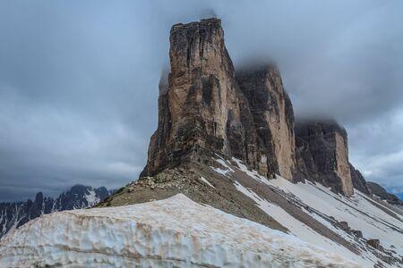 Tre Cime di Lavaredo in inverno. Alpi dolomitiche, Italia
