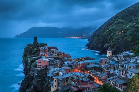 vernazza: Vernazza village in night. Cinque Terre, Italy