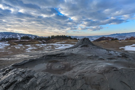 mud and snow: Mud Volcanoes in winter. Location: Buzau Romania