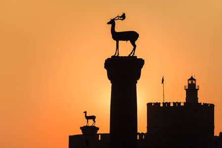Medieval statue of deer where the Colossus of Rhodes may have stood, Greece Stock Photo