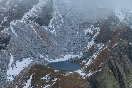 glaciar: Caltun lake in the Fagaras Mountains, Romania