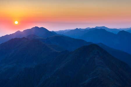 sunrise mountain: sunrise over the Fagaras Mountains, Romania. View from Negoiu Peak  2535m