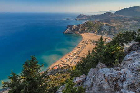 Tsambika beach - the most popular tourist destination in Rhodes Stock Photo