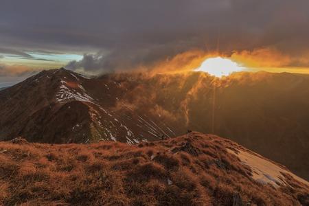 Sunrise in Fagaras Mountains. Southern Carpathians, Romania