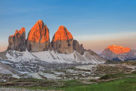 dolomite: Tre Cime di Lavaredo at sunrise, Dolomite Alps, Italy Stock Photo