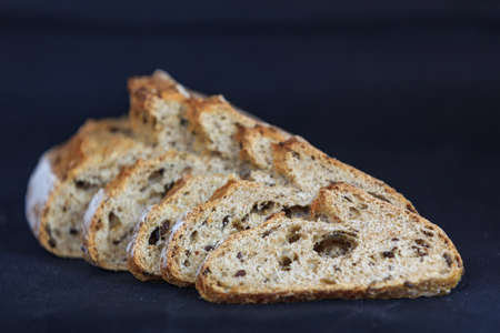 whole grain: whole grain bread isolated on black background
