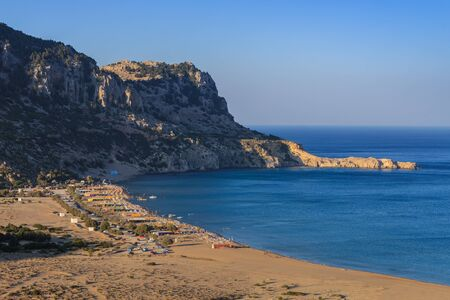 tsambika: Tsambika beach - the most popular tourist destination in Rhodes, Greece