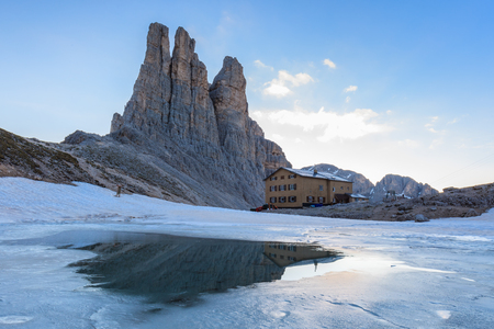 fassa: Vajolet Towers in Dolomites, Val di Fassa, Italy Stock Photo