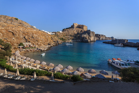 inlet bay: St Pauls Bay Beach in Lindos, Rhodes, Greece, Europe Stock Photo
